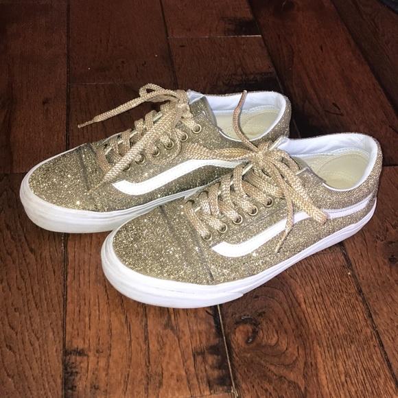 Madewell Shoes   Gold Glitter Vans